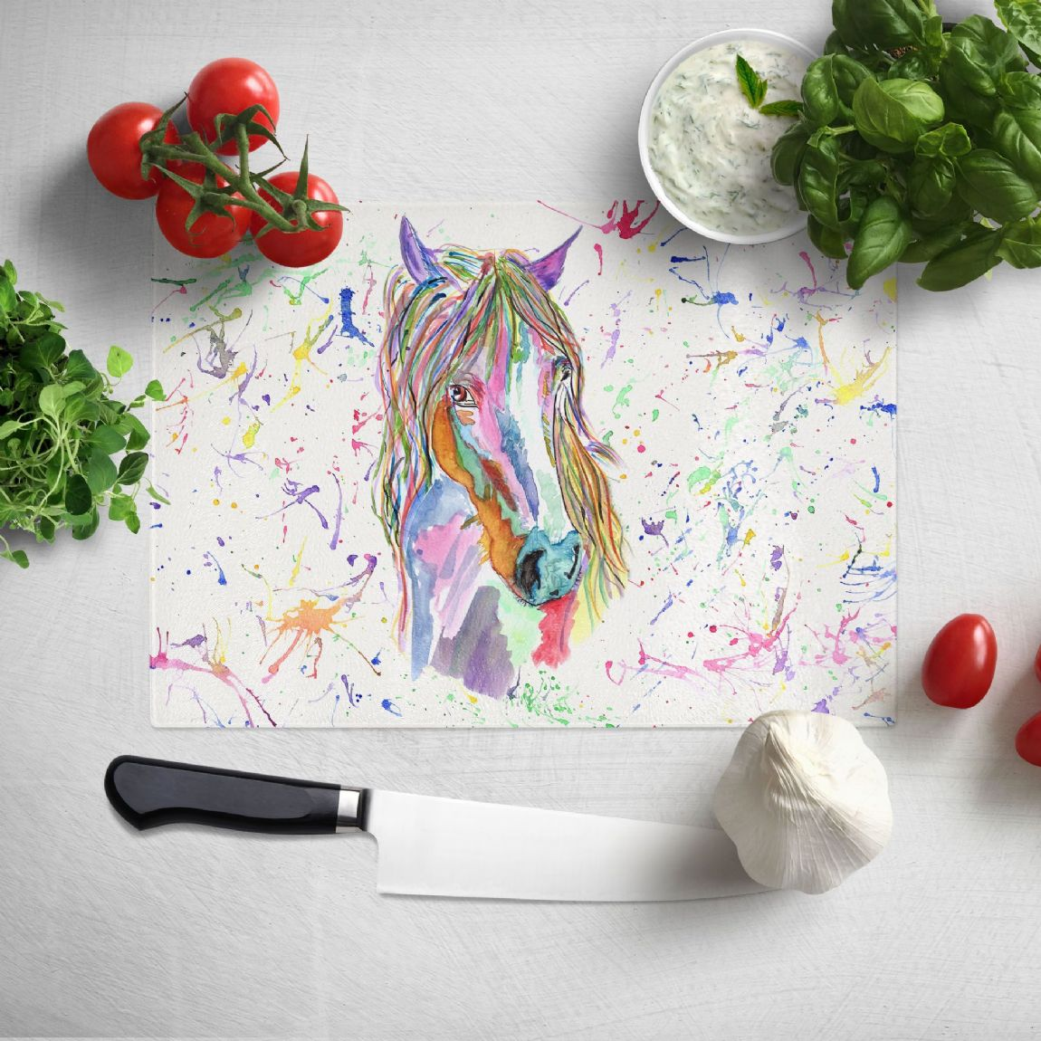Glass worktop saver/chopping board (Horse)